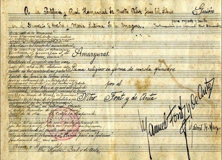 """Partitura original de la marcha """"Amarguras"""", firmada por Manuel Font de Anta"""